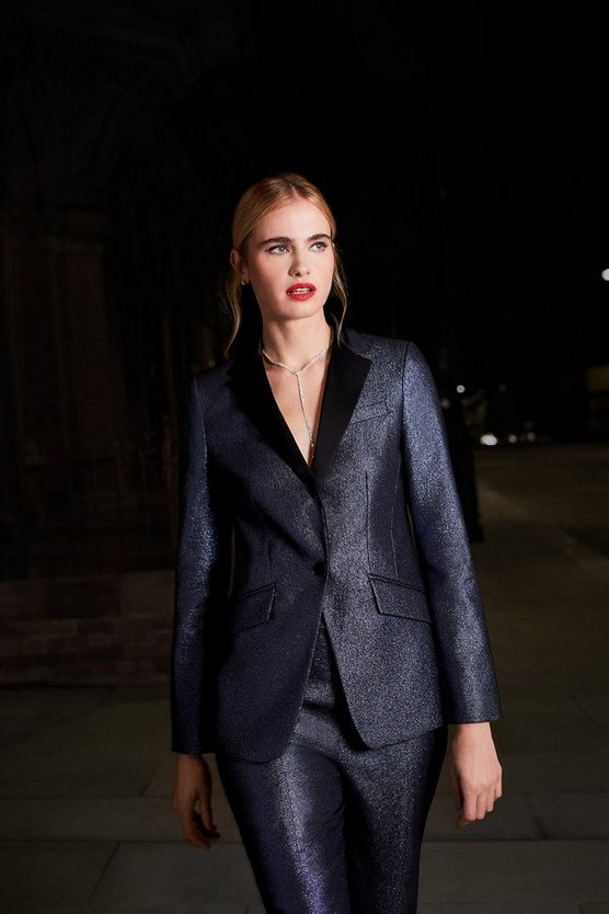 Blue Metallic Jacquard Jacket