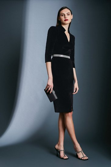 Black Signature Velvet Sleeved Pencil Dress