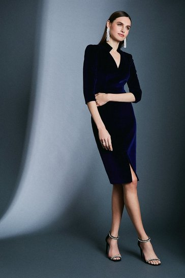 Blue Signature Velvet Sleeved Pencil Dress