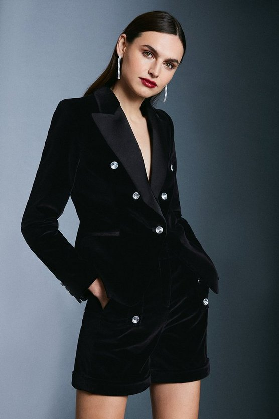 Black Signature Velvet Crystal Button Jacket