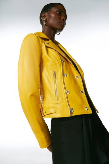 Mustard Military Leather Biker