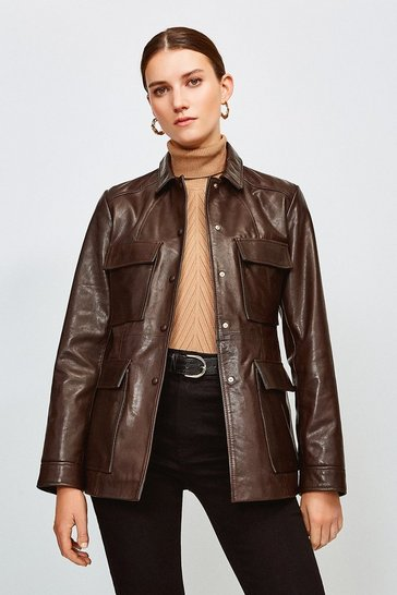 Chocolate Leather belted Safari  Jacket