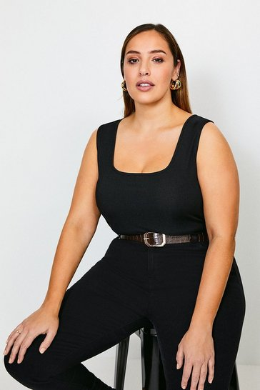 Black Curve Jersey Scoop Neck Rib Vest