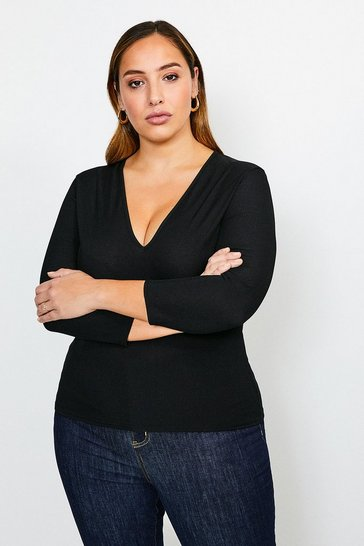 Black Curve Jersey Rib V Neck Top