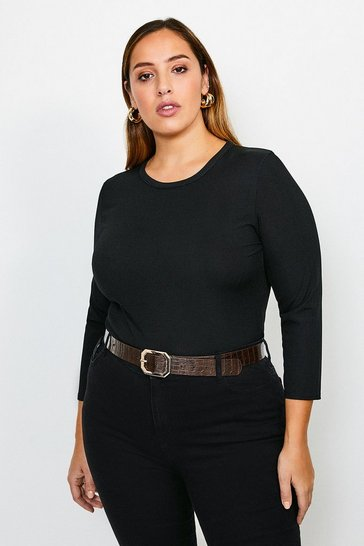 Black Curve Jersey Rib Top