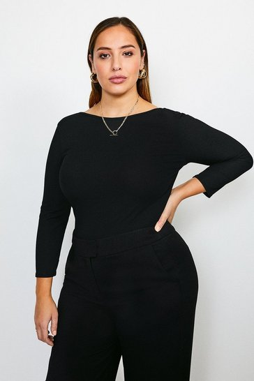 Black Curve Jersey Scoop Back Rib Body