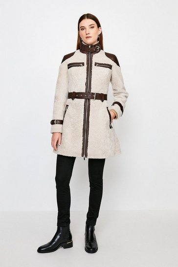 Natural Shearling Contrast Long Coat