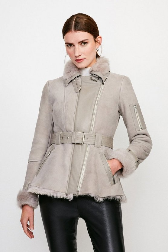 Natural Shearling Contrast Coat