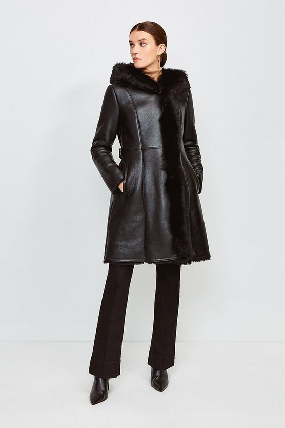 Black Longline Hooded Shearling Coat