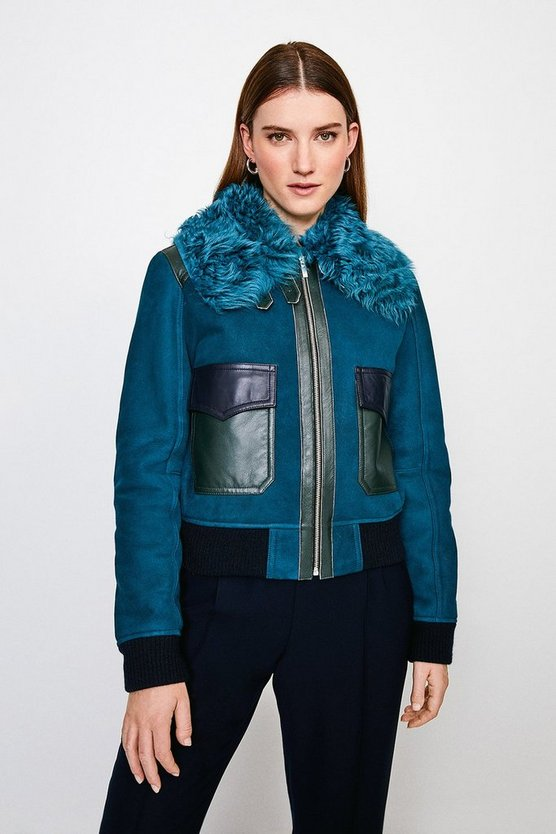 Teal Shearling Collar Zip Front Jacket