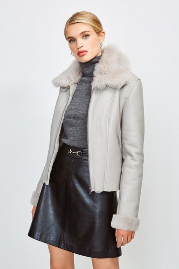 Grey  Shearling Collar  Biker Leather Jacket