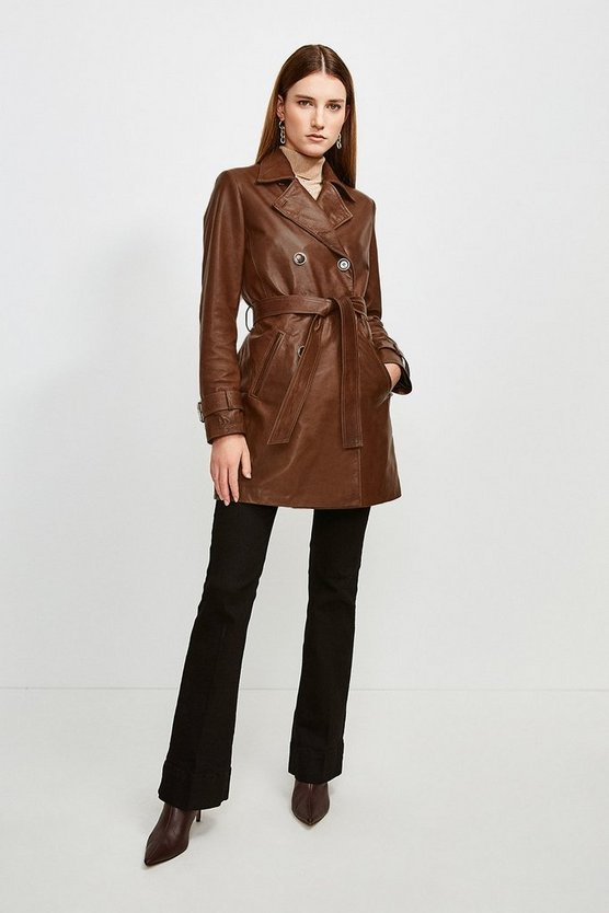 Chocolate Vegetable Tanned Leather 3/4 Length Trench Coat