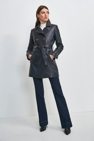 Navy Vegetable Tanned Leather 3/4 Length Trench Coat
