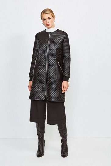 Black Multi Quilted Leather Coat