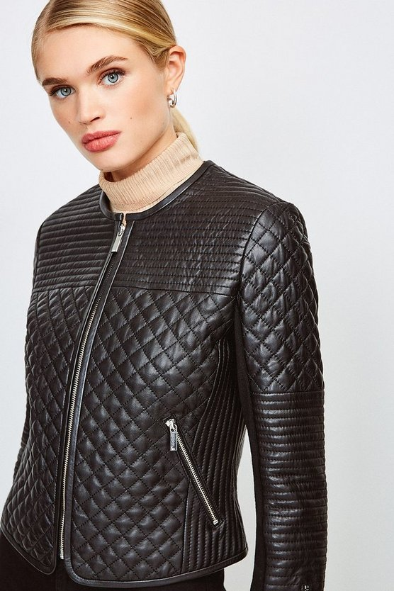 Black Multi Quilted Collarless Leather Jacket
