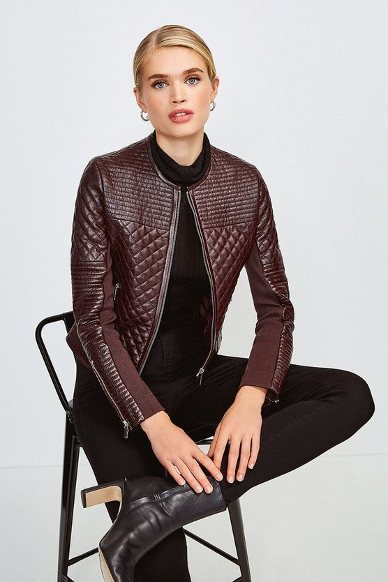 Fig Multi Quilted Collarless Leather Jacket