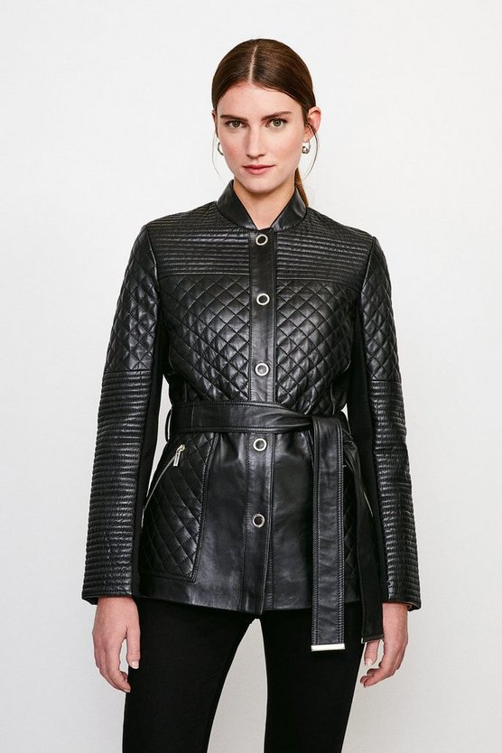 Black Multi Quilted Belted Leather Jacket