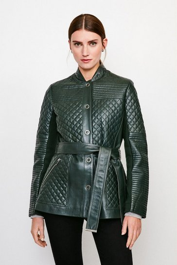 Forest Multi Quilted Belted Leather Jacket