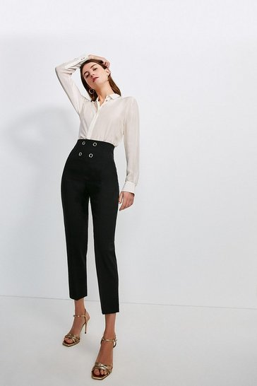 Mono Wool Blend Tux High Waist Trousers