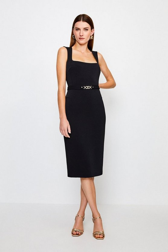 Black Square Neck Pencil Dress