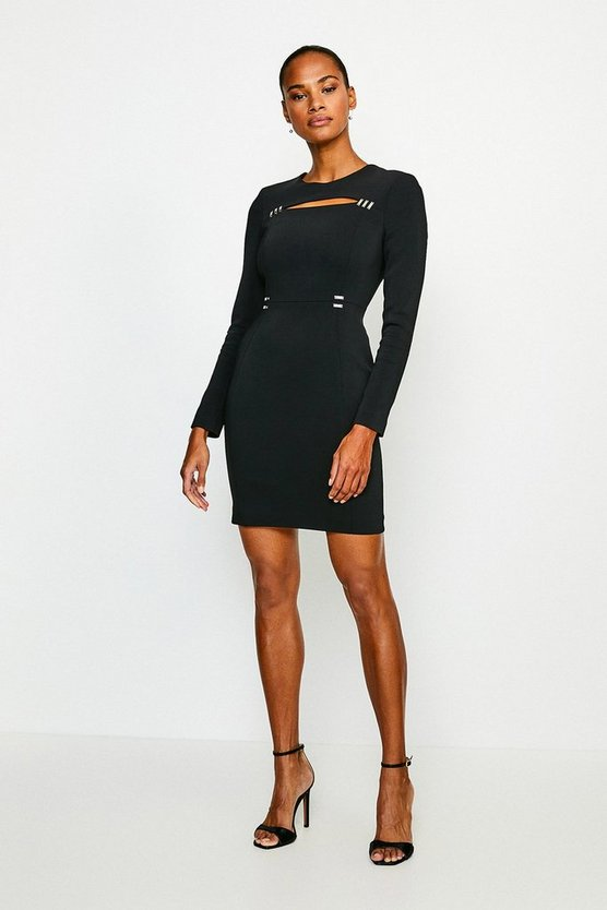 Black Cutout Long Sleeve Mini Dress