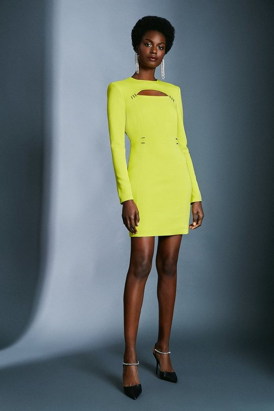 Chartreuse Cutout Long Sleeve Mini Dress