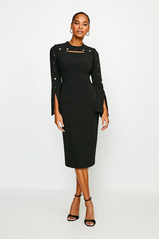 Black Stud Detail Split Sleeve Pencil Dress