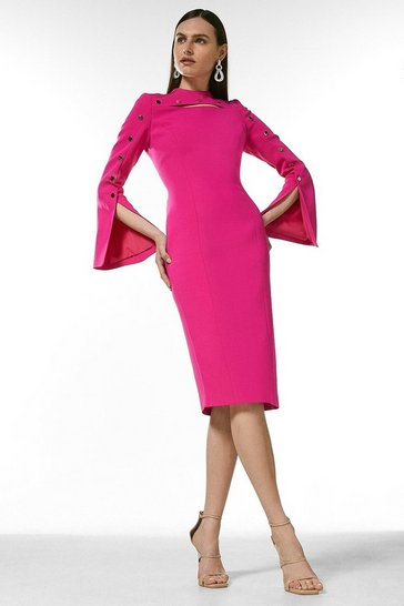 Hot pink Stud Detail Split Sleeve Pencil Dress
