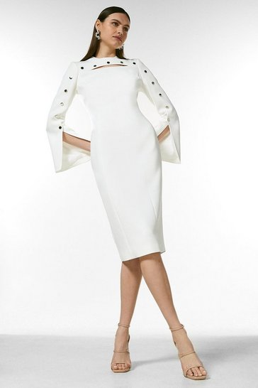 Ivory Stud Detail Split Sleeve Pencil Dress