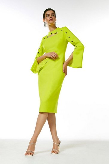 Lime Stud Detail Split Sleeve Pencil Dress