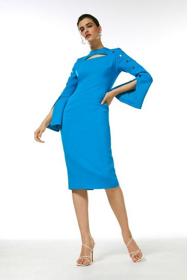 Turquoise Stud Detail Split Sleeve Pencil Dress