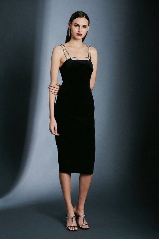 Black Italian Stretch Velvet Crystal Strap And Bar Dress