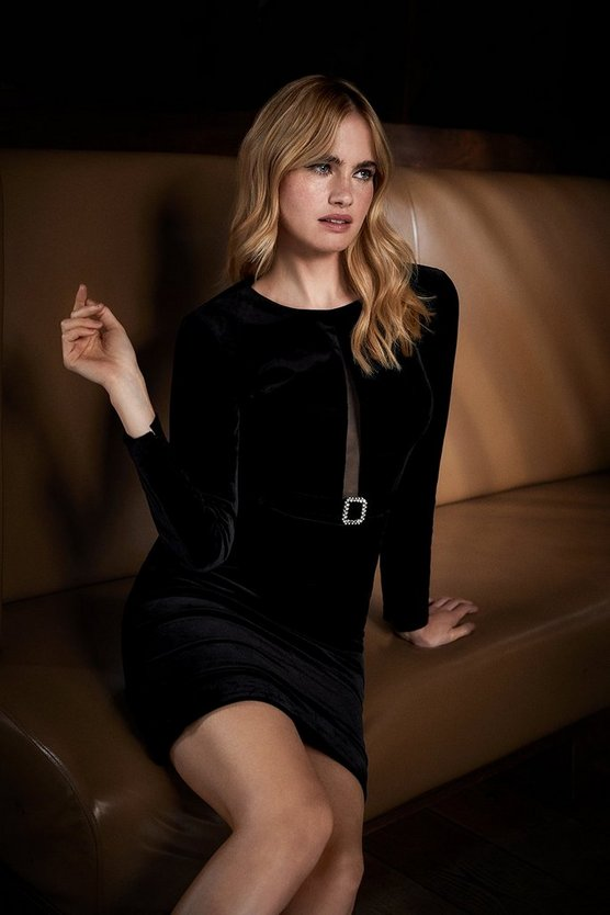 Black Italian Stretch Velvet Long Sleeve Pencil Dress