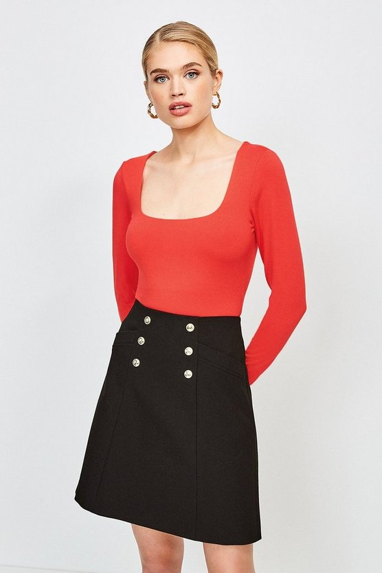 Red Viscose Jersey Long Sleeve Square Neck Body