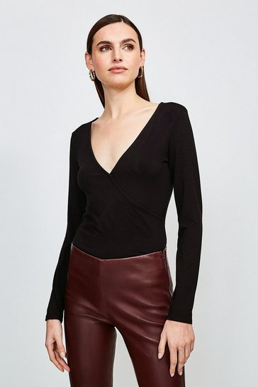 Black Long Sleeve Wrap Viscose Jersey Top