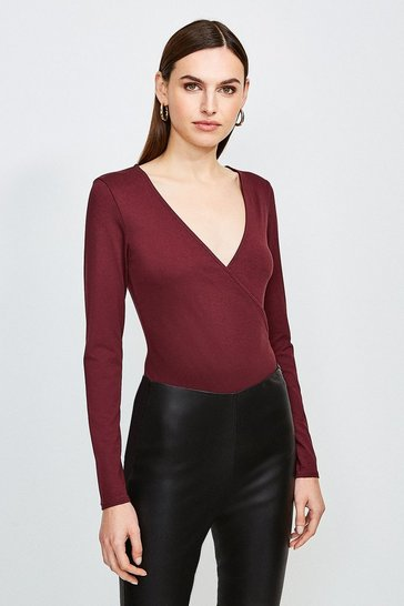 Fig Long Sleeve Wrap Viscose Jersey Top