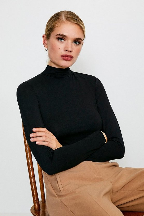 Green Long Sleeve Funnel Neck Viscose Jersey Top