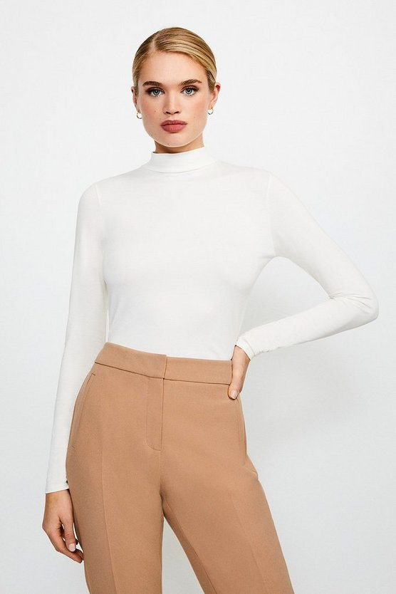 Ivory Long Sleeve Funnel Neck Viscose Jersey Top