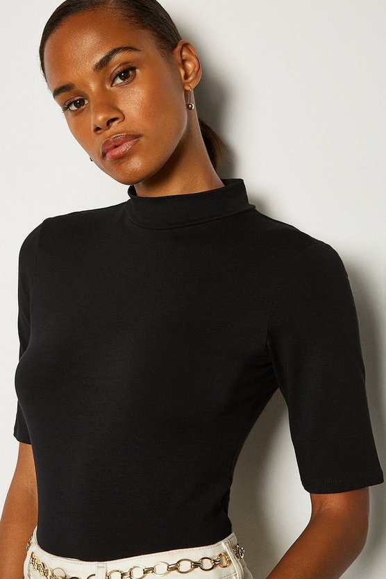 Black Short Sleeve Funnel Neck Viscose Jersey Top