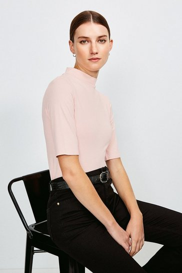 Blush Short Sleeve Funnel Neck Viscose Jersey Top