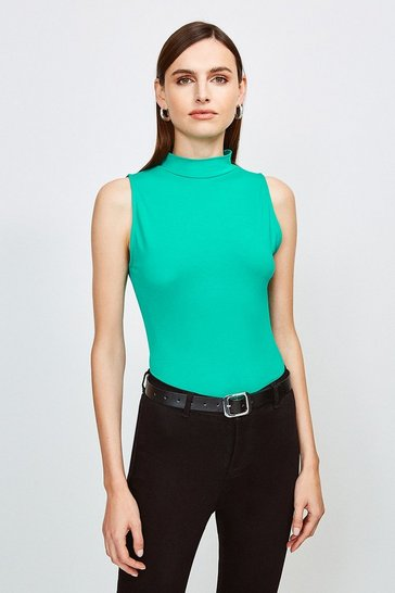 Green Sleeveless Funnel Neck Viscose Jersey Top