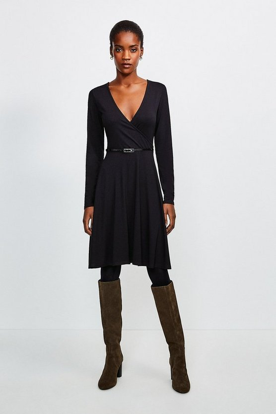 Black Long Sleeve Wrap Viscose Jersey Dress