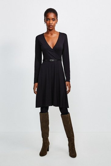 Green Long Sleeve Wrap Viscose Jersey Dress