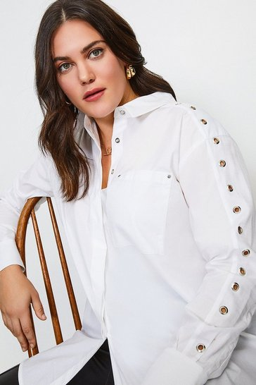 White Curve Eyelet Detail Shirt