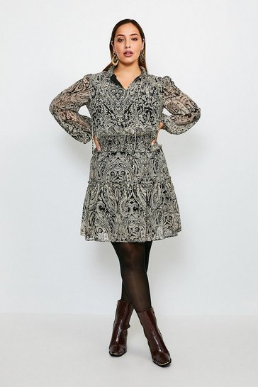 Black Curve Paisley High Neck Short Dress