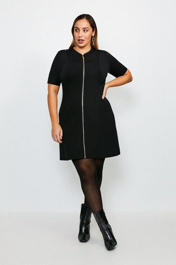 Black Curve Military Ponte Dress