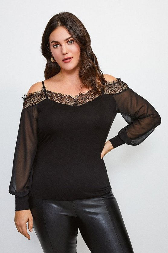 Black Curve Cold Shoulder Chiffon Sleeve Jersey Top