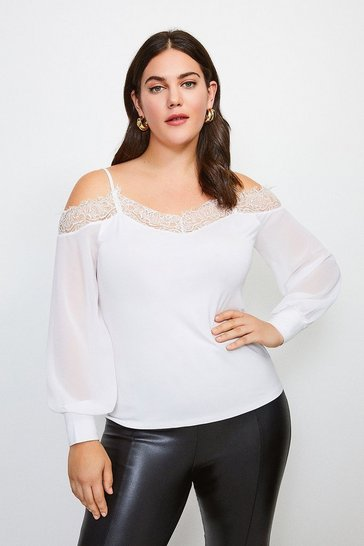 Ivory Curve Cold Shoulder Chiffon Sleeve Jersey Top