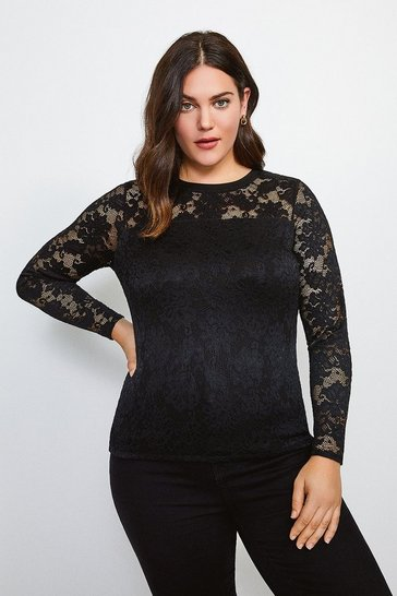 Black Curve Lace Long Sleeve Jersey Top