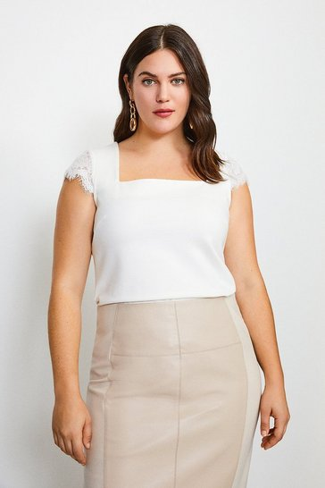 Ivory Curve Lace Shoulder Square Neck Ponte Top